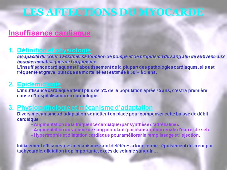 LES AFFECTIONS DU MYOCARDE