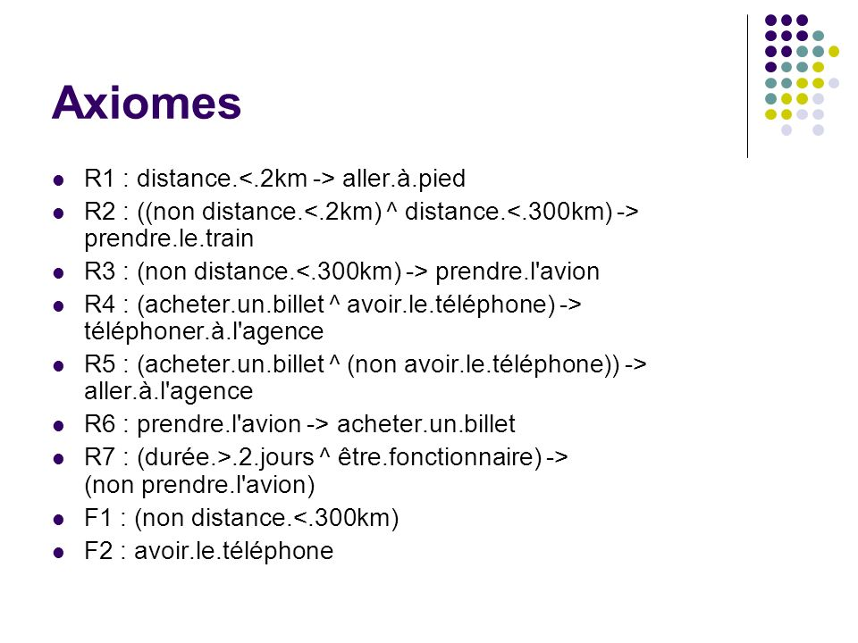 Axiomes R1 : distance.<.2km -> aller.à.pied