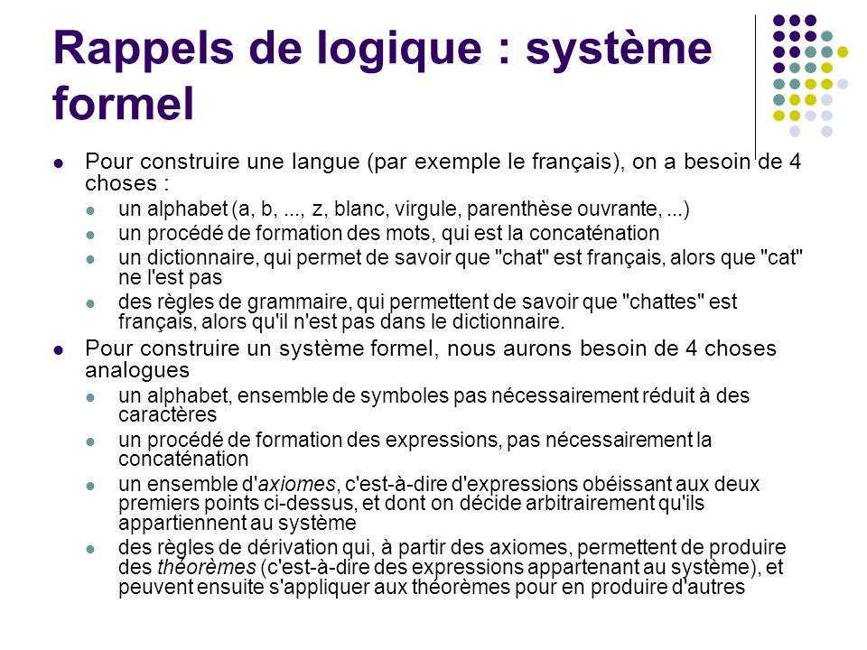 Rappels de logique : système formel
