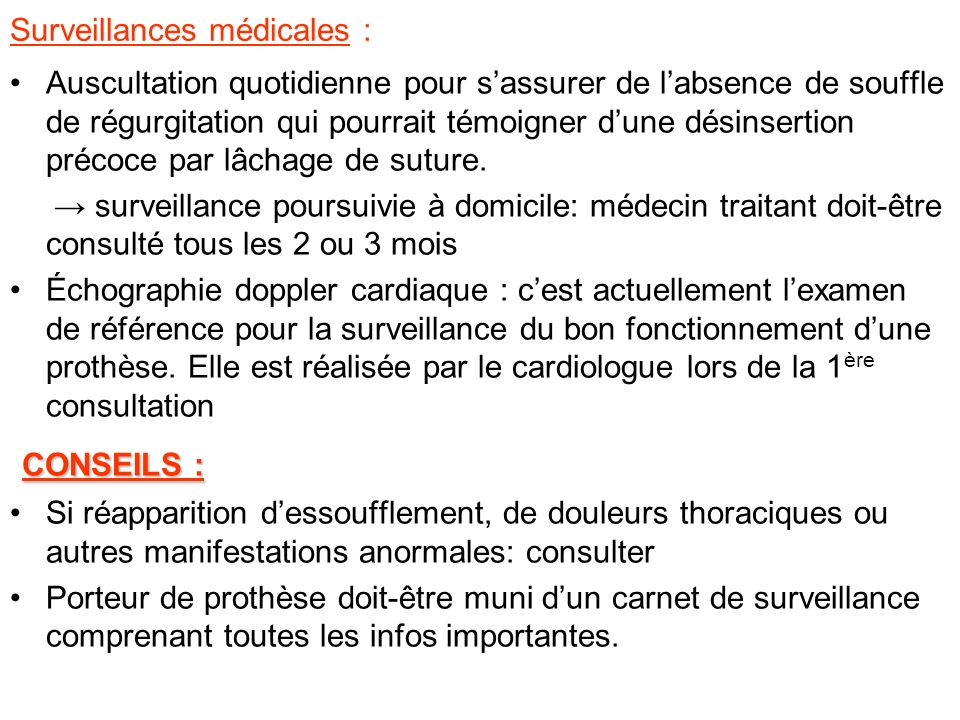 Surveillances médicales :