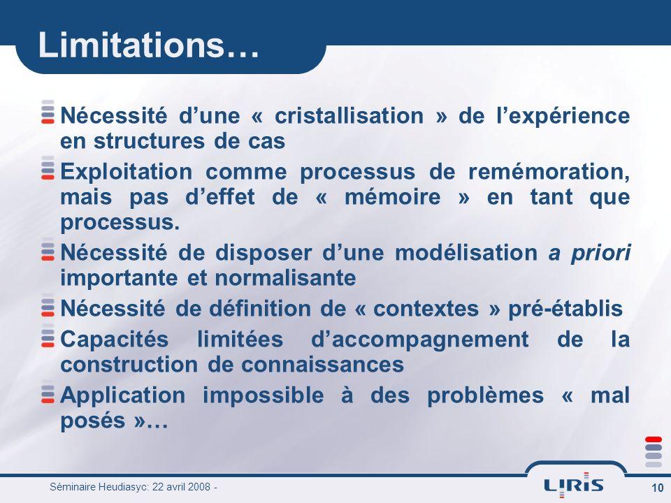 Limitations… Nécessité d'une « cristallisation » de l'expérience en structures de cas.