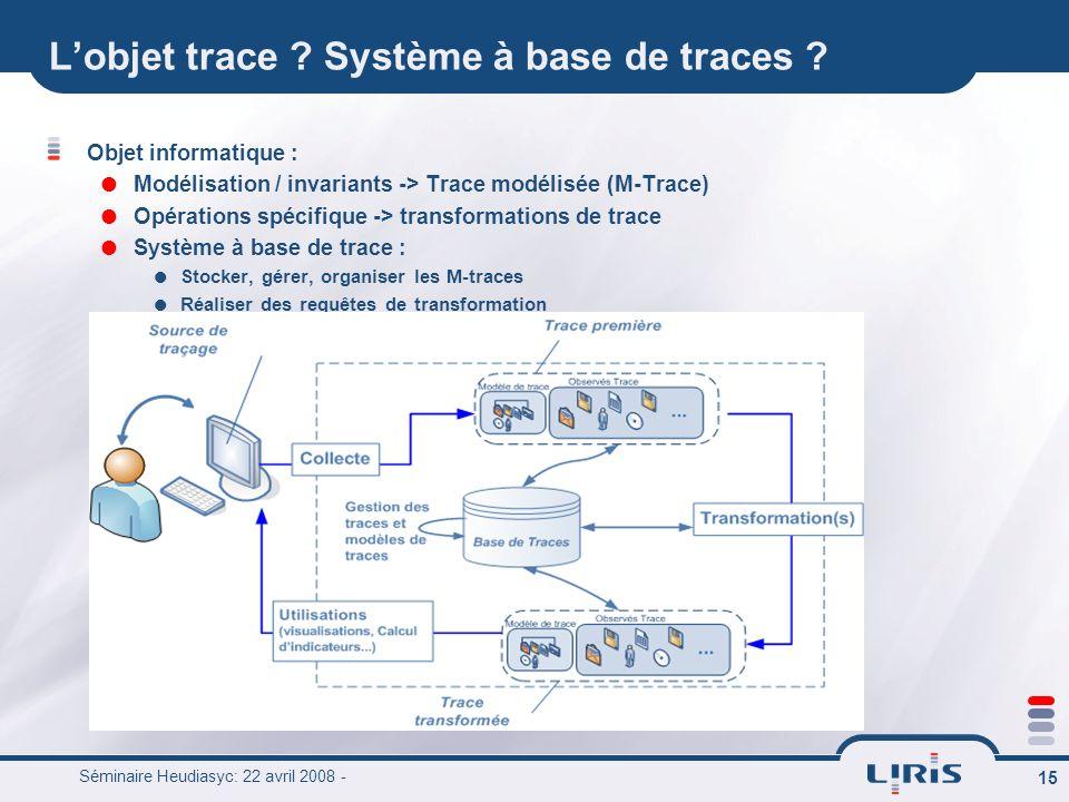 L'objet trace Système à base de traces