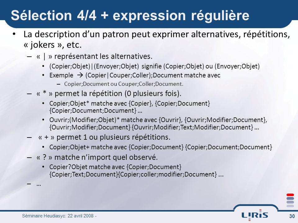 Sélection 4/4 + expression régulière