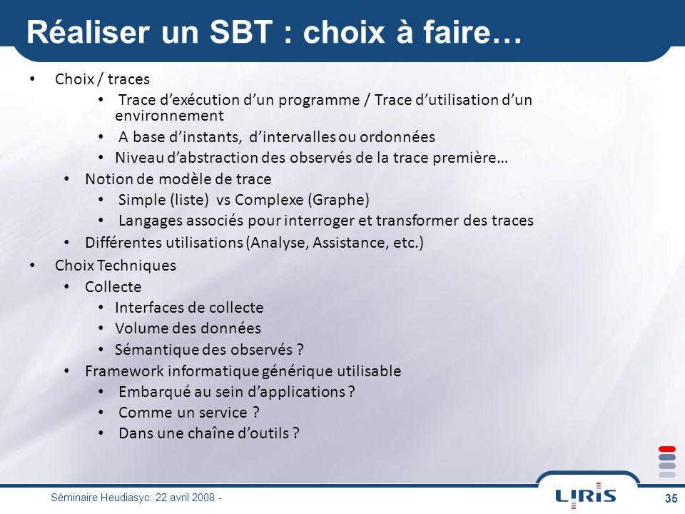 Réaliser un SBT : choix à faire…