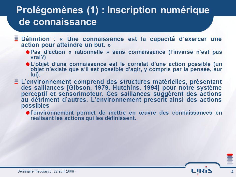 Prolégomènes (1) : Inscription numérique de connaissance