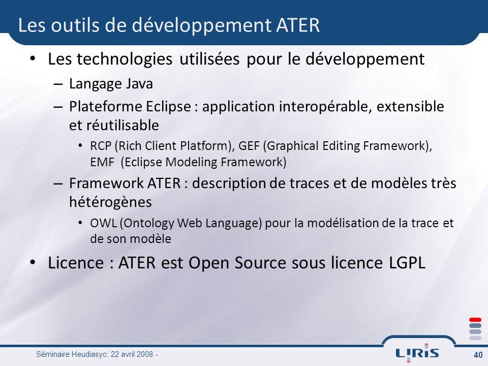 Les outils de développement ATER