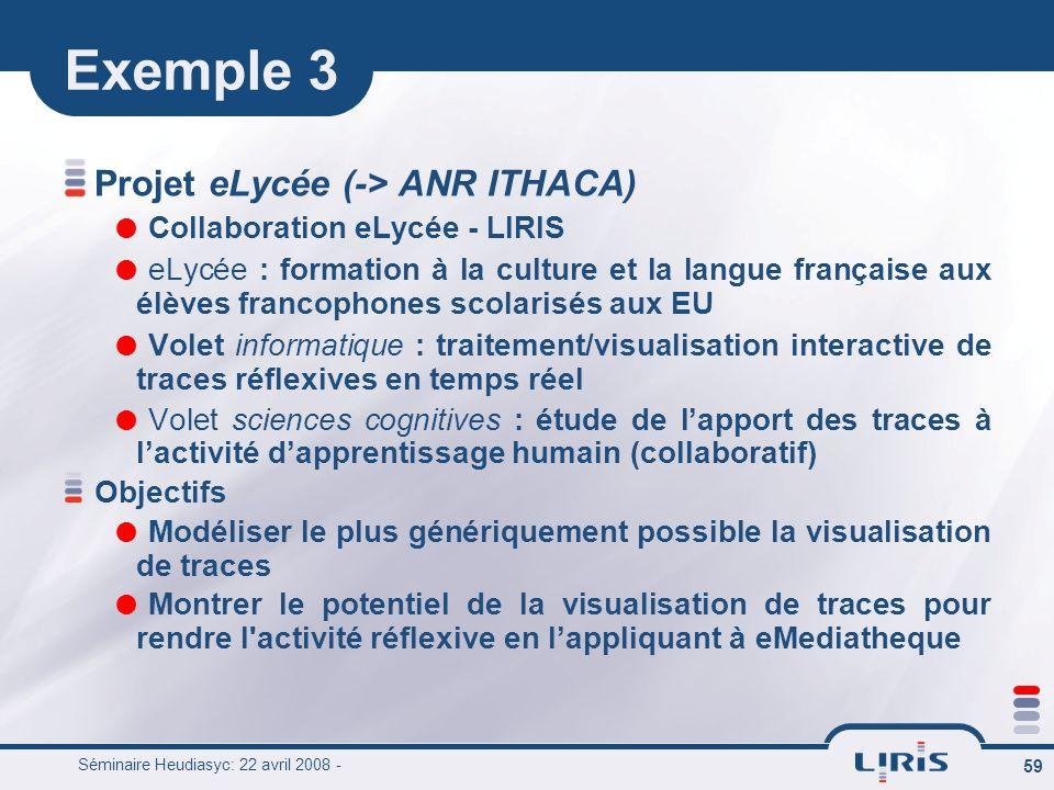 Exemple 3 Projet eLycée (-> ANR ITHACA)