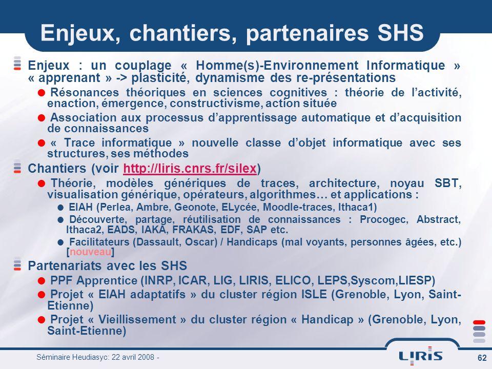 Enjeux, chantiers, partenaires SHS