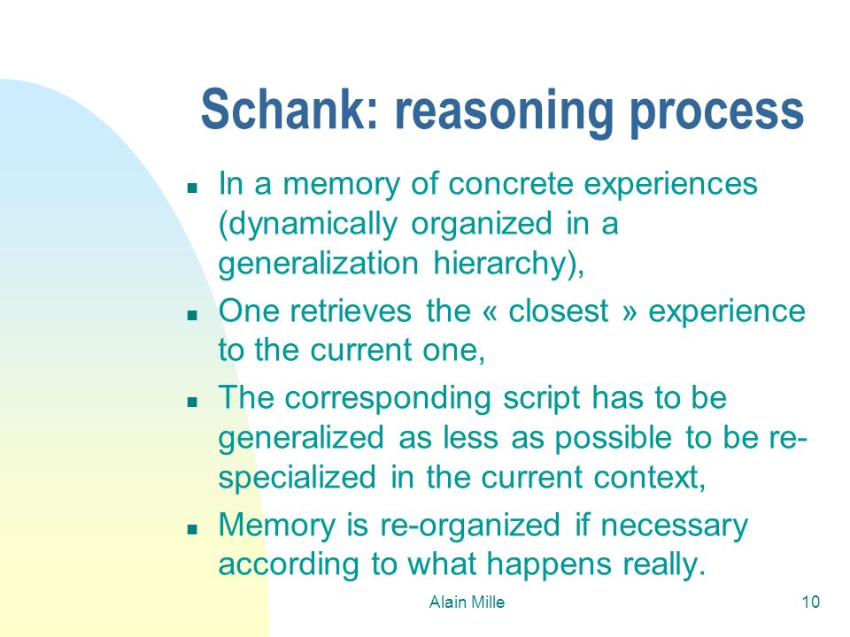 Schank: reasoning process