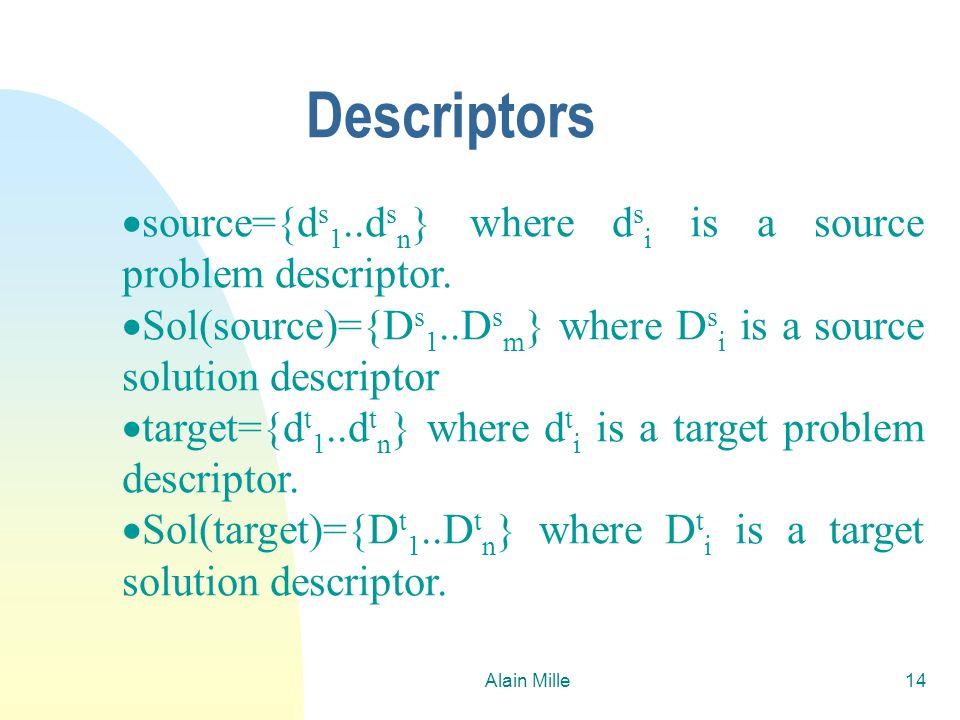 26/03/2017Descriptors. source={ds1..dsn} where dsi is a source problem descriptor. Sol(source)={Ds1..Dsm} where Dsi is a source solution descriptor.