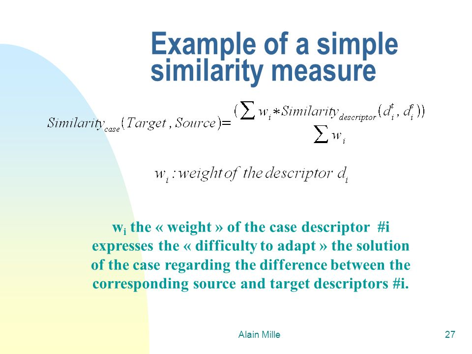 Example of a simple similarity measure