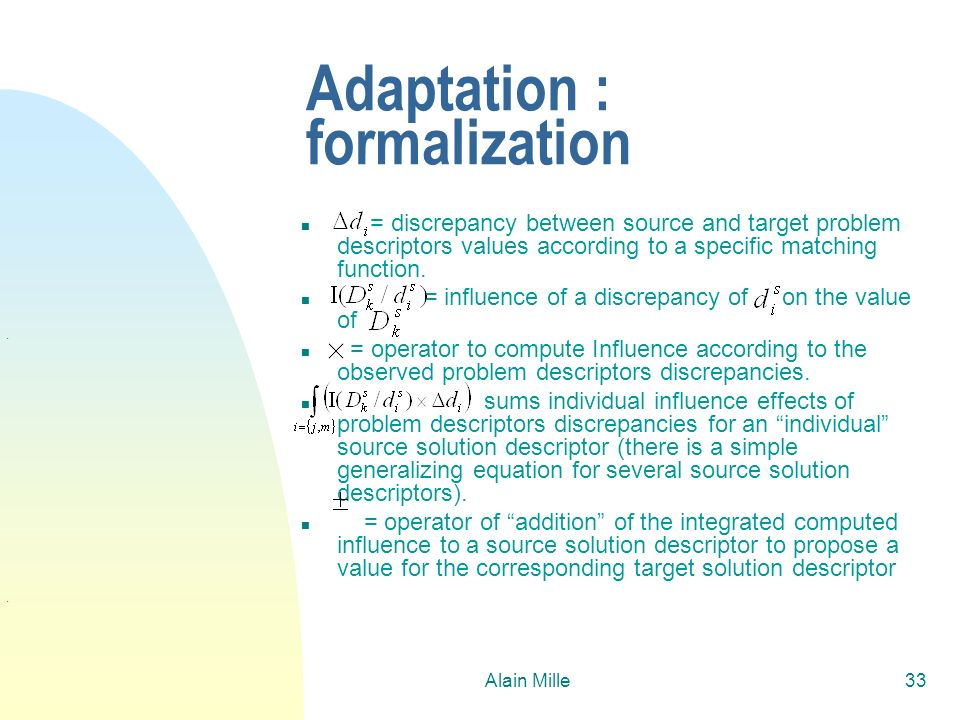 Adaptation : formalization