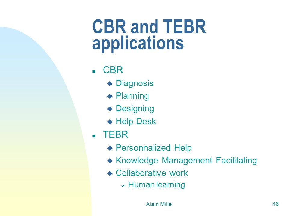 CBR and TEBR applications
