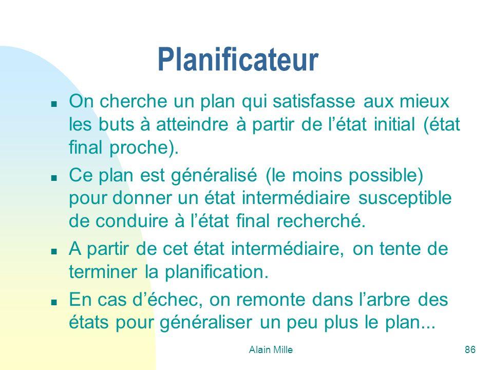 26/03/2017 Planificateur. On cherche un plan qui satisfasse aux mieux les buts à atteindre à partir de l'état initial (état final proche).