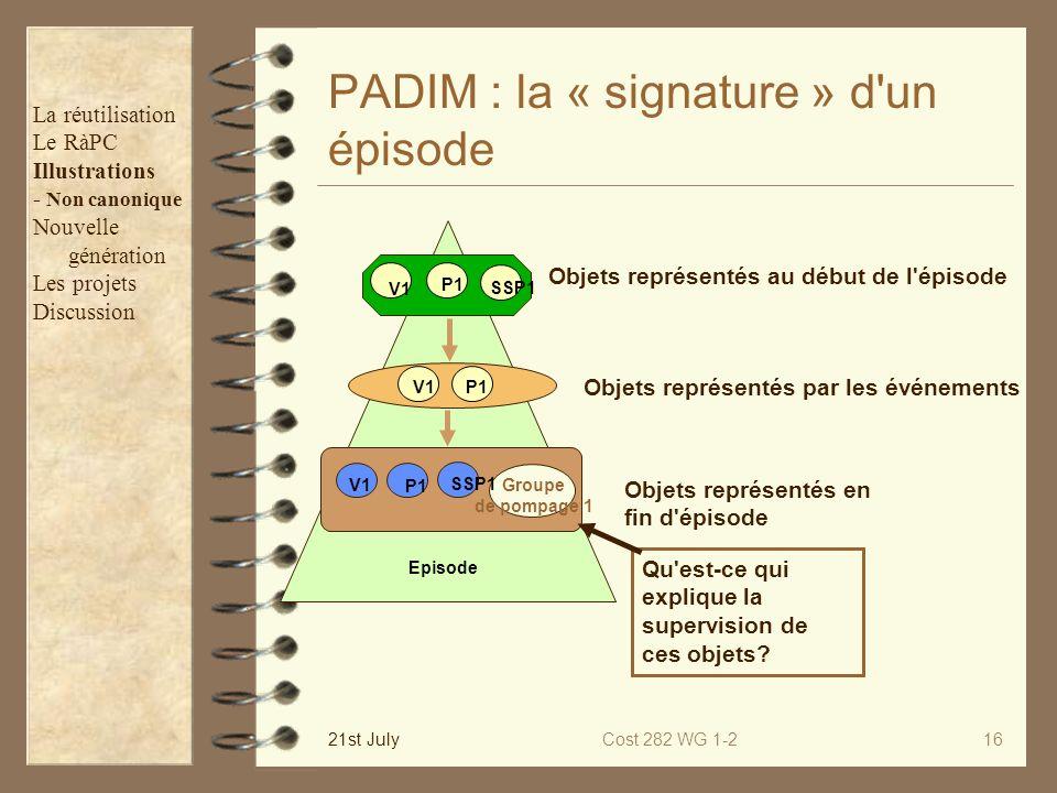 PADIM : la « signature » d un épisode