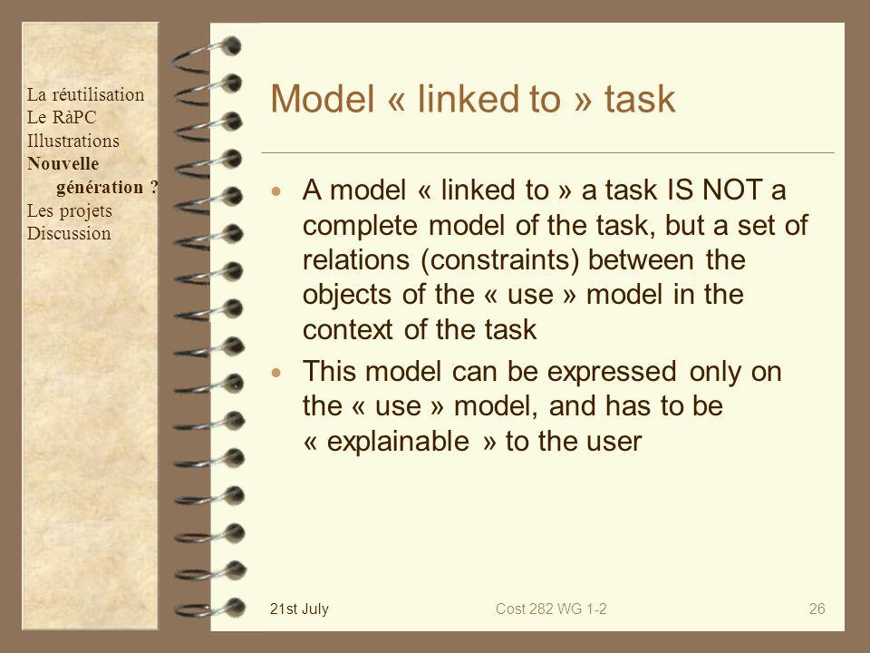 Model « linked to » task La réutilisation. Le RàPC. Illustrations. Nouvelle. génération Les projets.