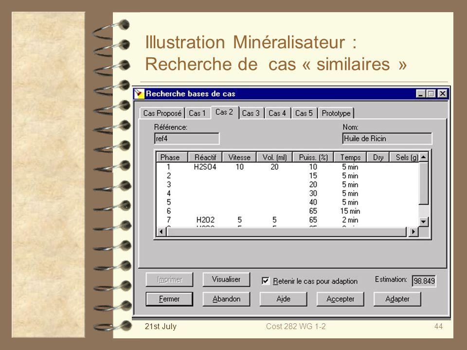 Illustration Minéralisateur : Recherche de cas « similaires »