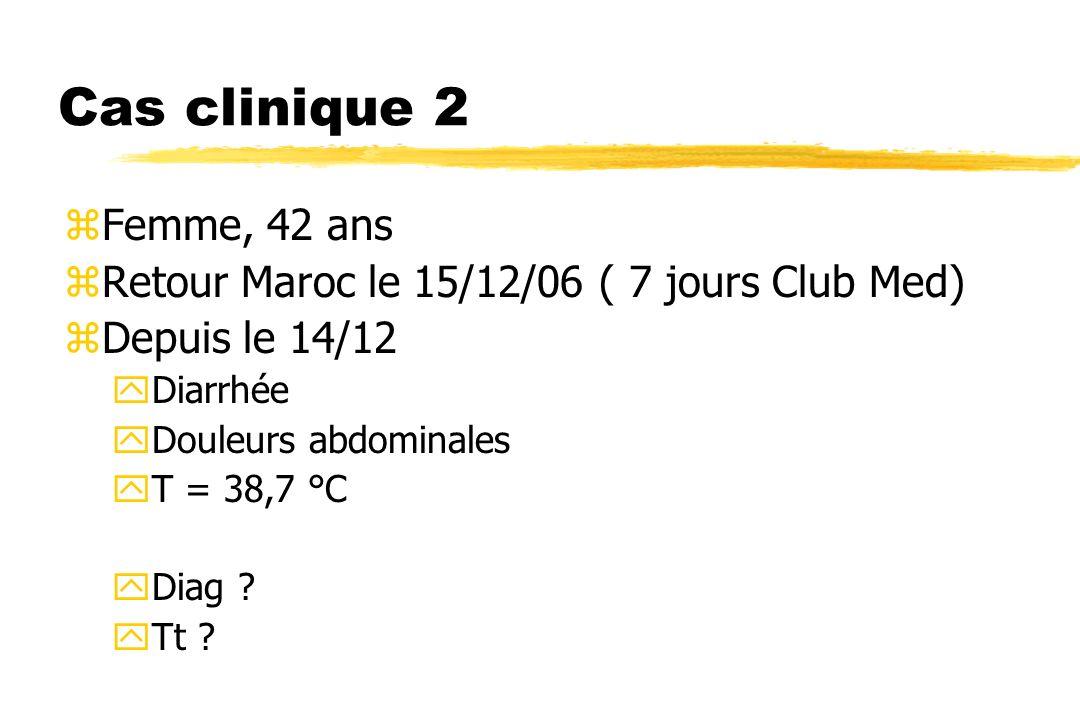 Cas clinique 2 Femme, 42 ans. Retour Maroc le 15/12/06 ( 7 jours Club Med) Depuis le 14/12. Diarrhée.