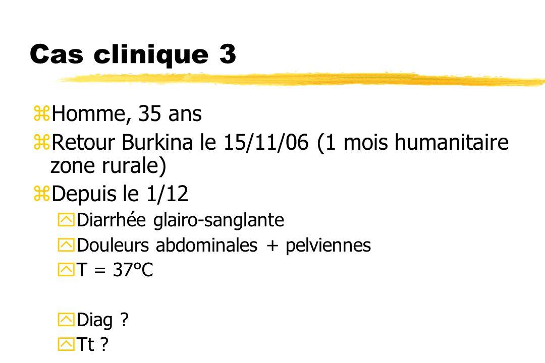 Cas clinique 3 Homme, 35 ans. Retour Burkina le 15/11/06 (1 mois humanitaire zone rurale) Depuis le 1/12.