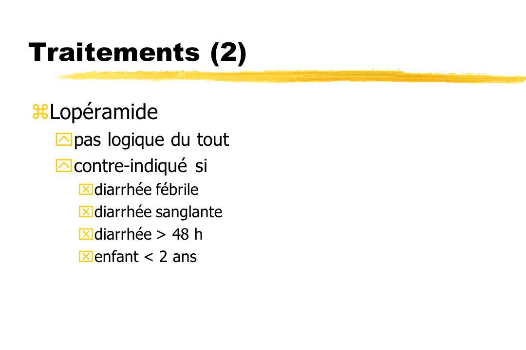 Traitements (2) Lopéramide pas logique du tout contre-indiqué si