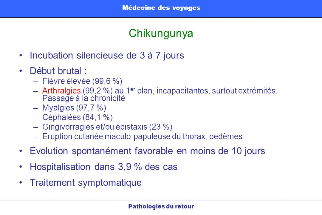 Chikungunya Incubation silencieuse de 3 à 7 jours Début brutal :