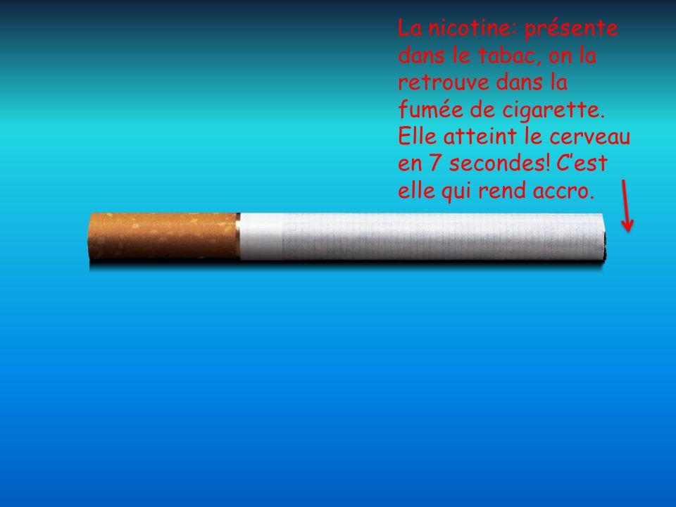 La nicotine: présente dans le tabac, on la retrouve dans la fumée de cigarette.