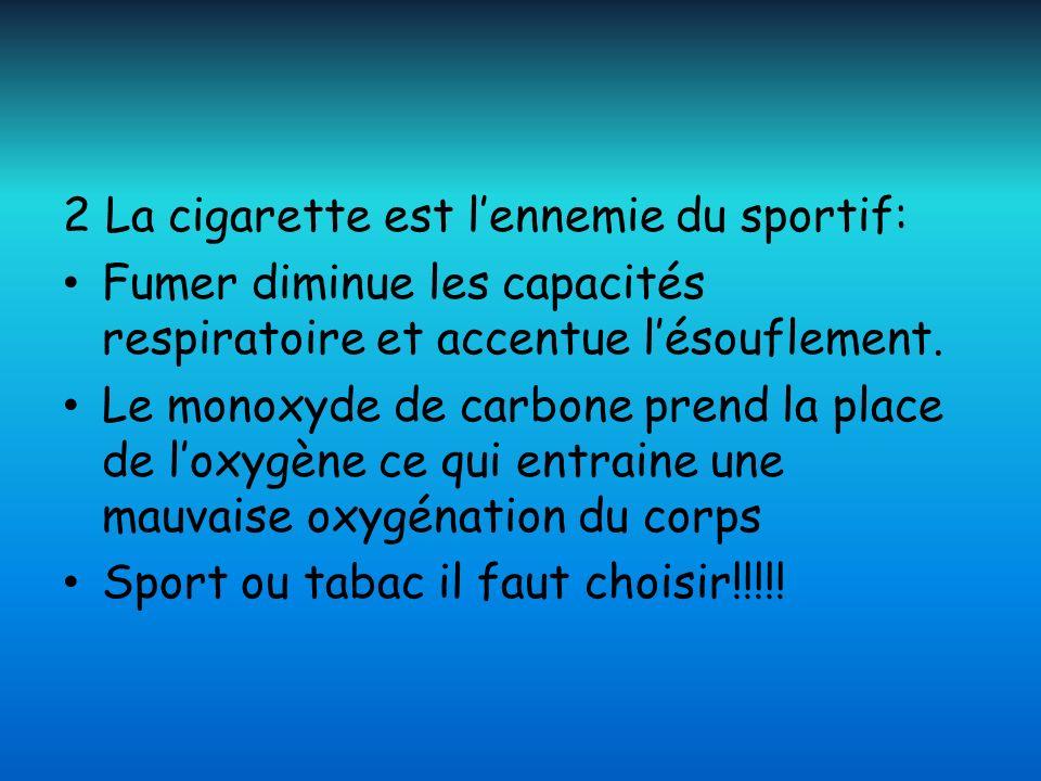 2 La cigarette est l'ennemie du sportif:
