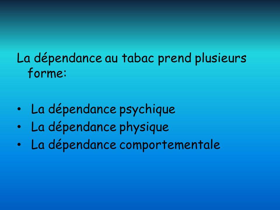 La dépendance au tabac prend plusieurs forme: