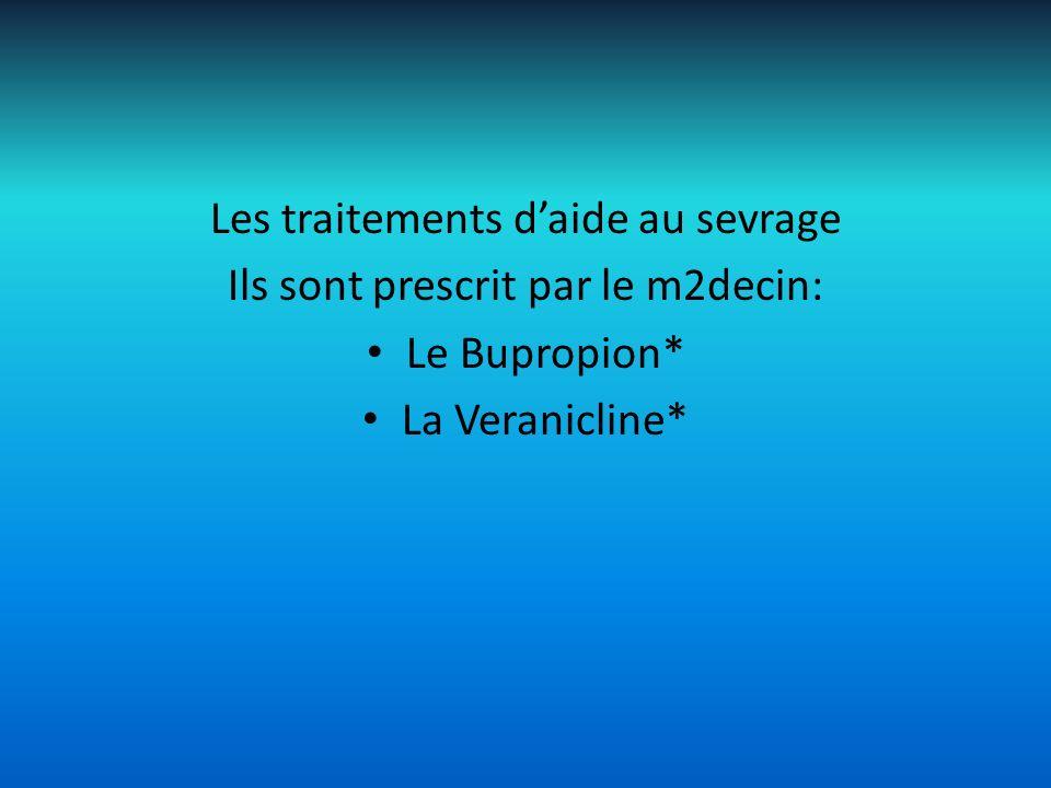 Les traitements d'aide au sevrage Ils sont prescrit par le m2decin: