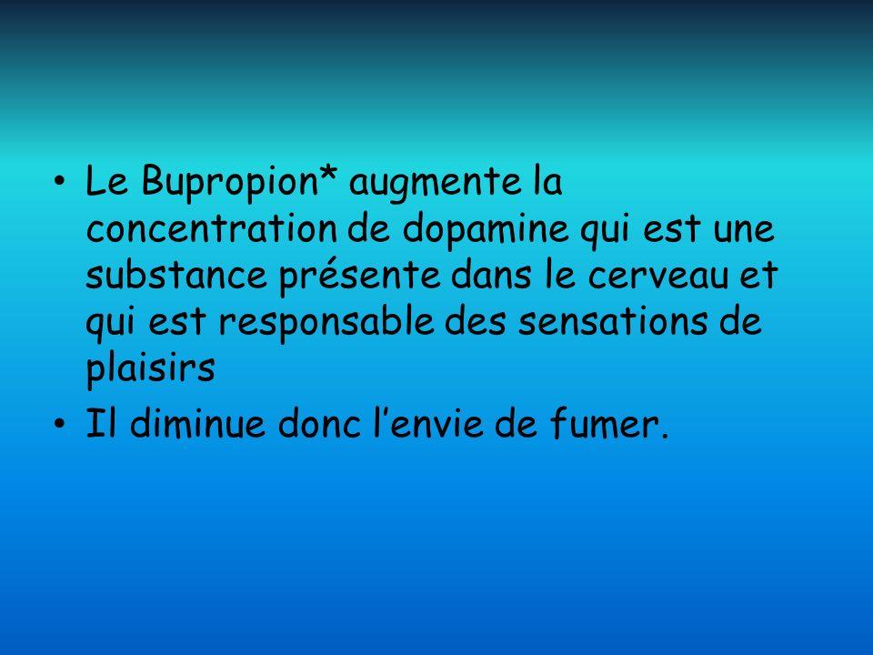 Le Bupropion* augmente la concentration de dopamine qui est une substance présente dans le cerveau et qui est responsable des sensations de plaisirs