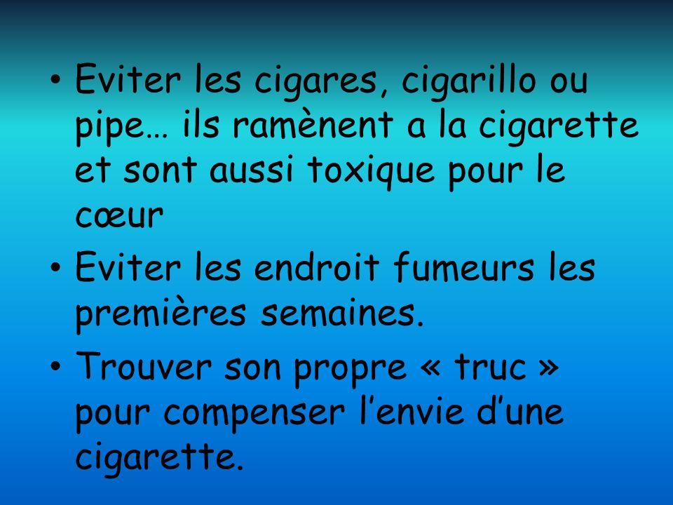 Eviter les cigares, cigarillo ou pipe… ils ramènent a la cigarette et sont aussi toxique pour le cœur