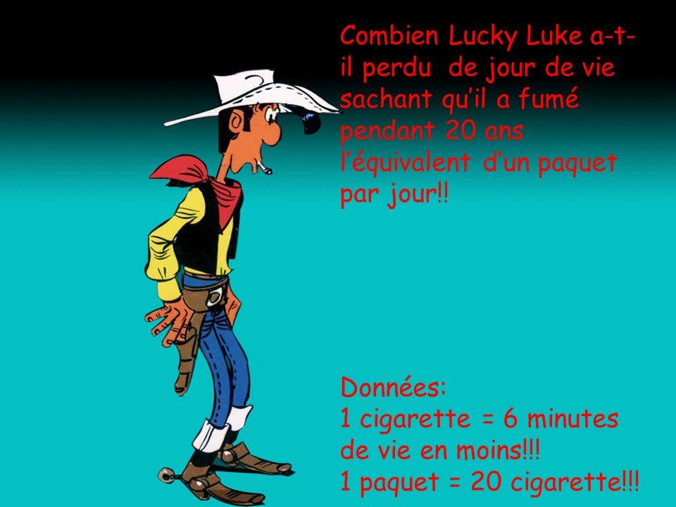 Combien Lucky Luke a-t-il perdu de jour de vie sachant qu'il a fumé pendant 20 ans l'équivalent d'un paquet par jour!!