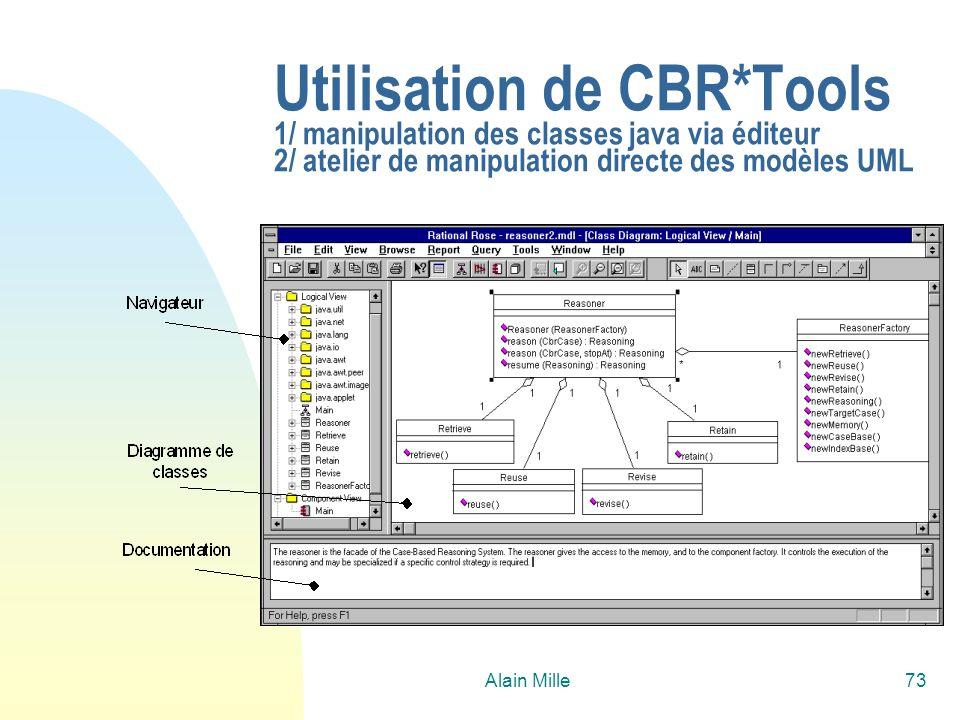 Utilisation de CBR*Tools 1/ manipulation des classes java via éditeur 2/ atelier de manipulation directe des modèles UML