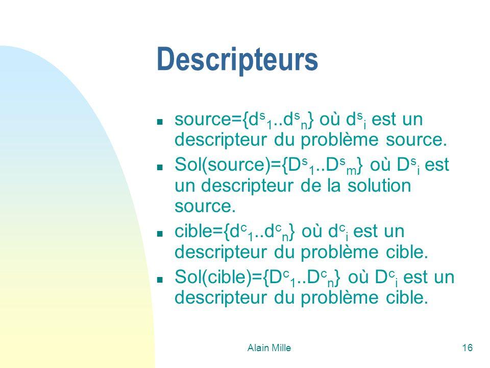 26/03/2017 Descripteurs. source={ds1..dsn} où dsi est un descripteur du problème source.
