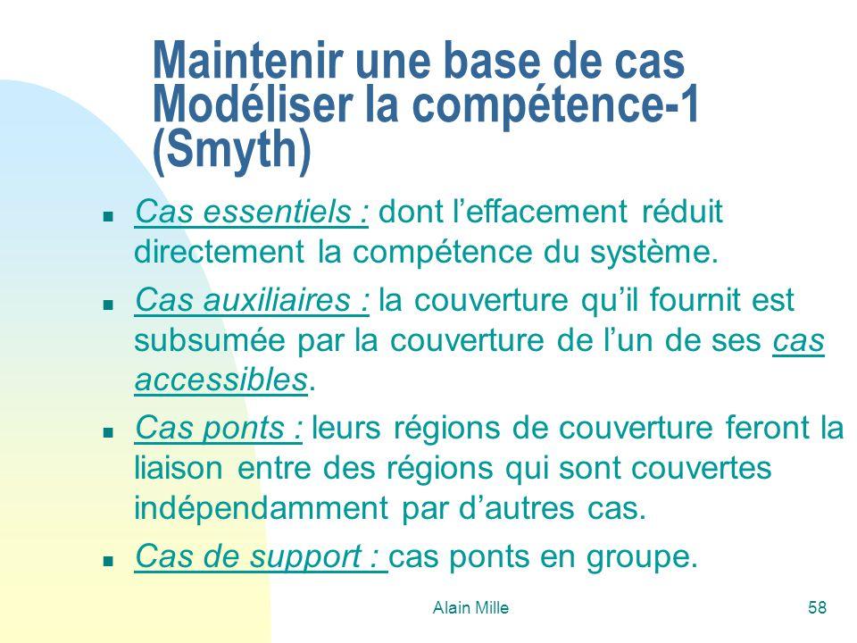 Maintenir une base de cas Modéliser la compétence-1 (Smyth)