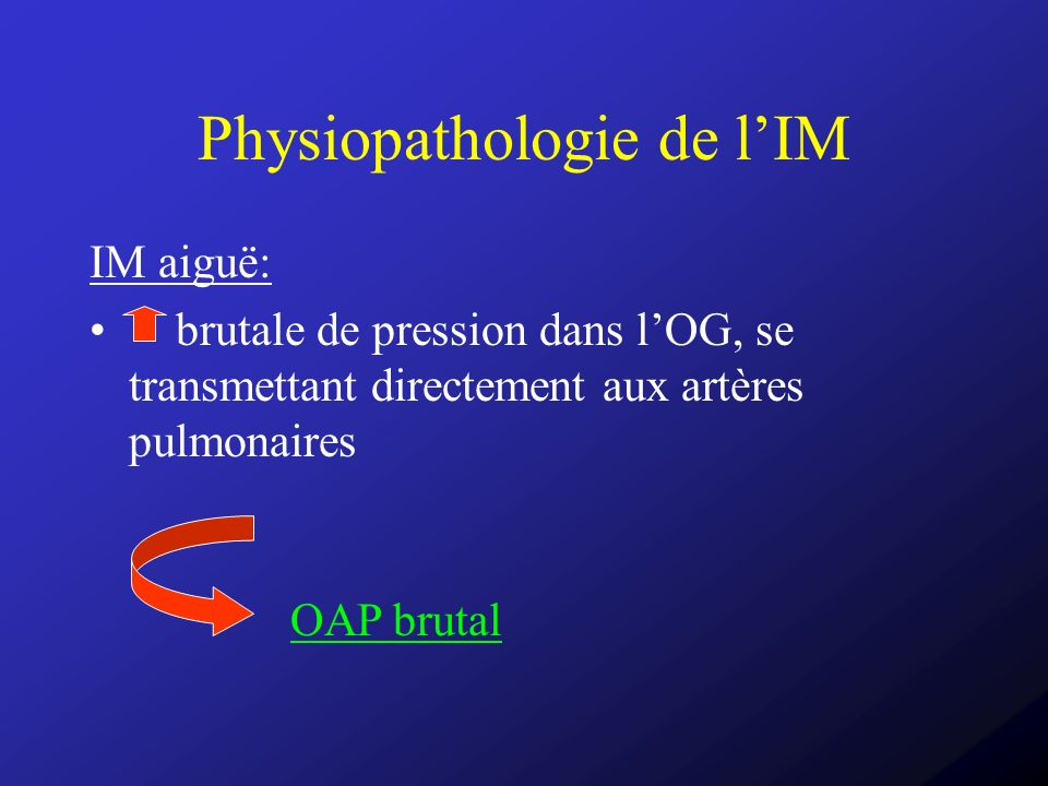 Physiopathologie de l'IM