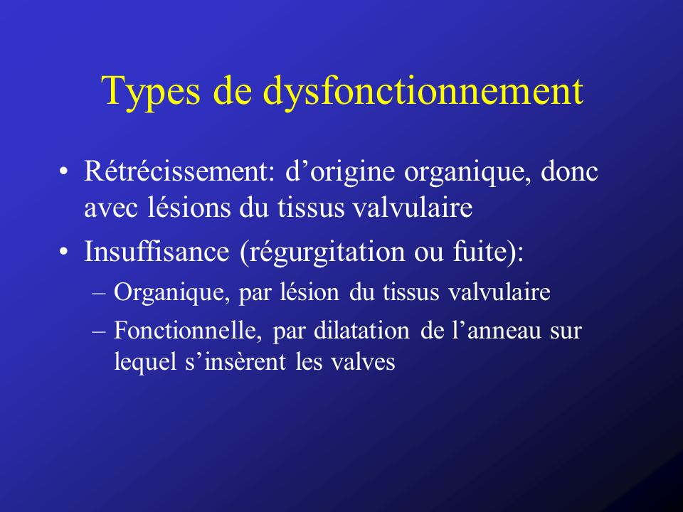 Types de dysfonctionnement