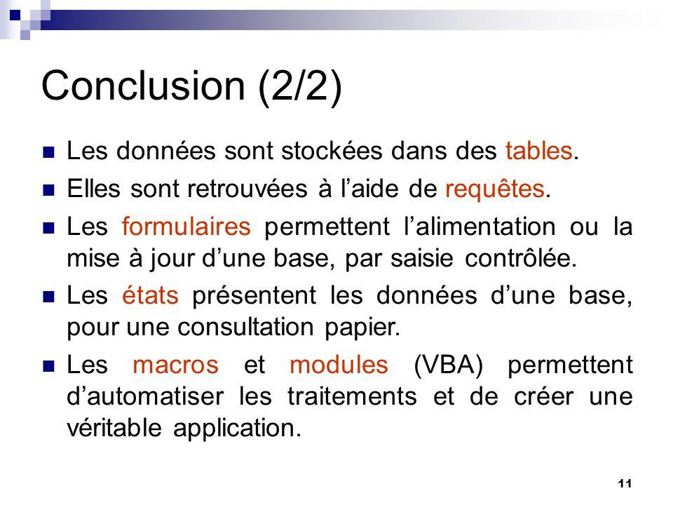 Conclusion (2/2) Les données sont stockées dans des tables.