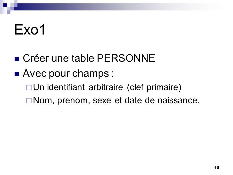 Exo1 Créer une table PERSONNE Avec pour champs :