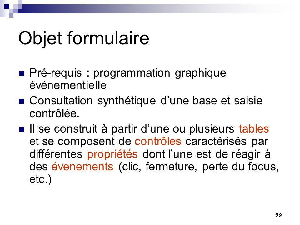 Objet formulaire Pré-requis : programmation graphique événementielle