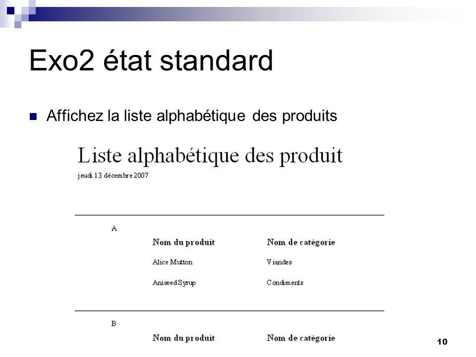 Exo2 état standard Affichez la liste alphabétique des produits