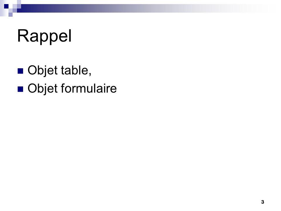 Rappel Objet table, Objet formulaire