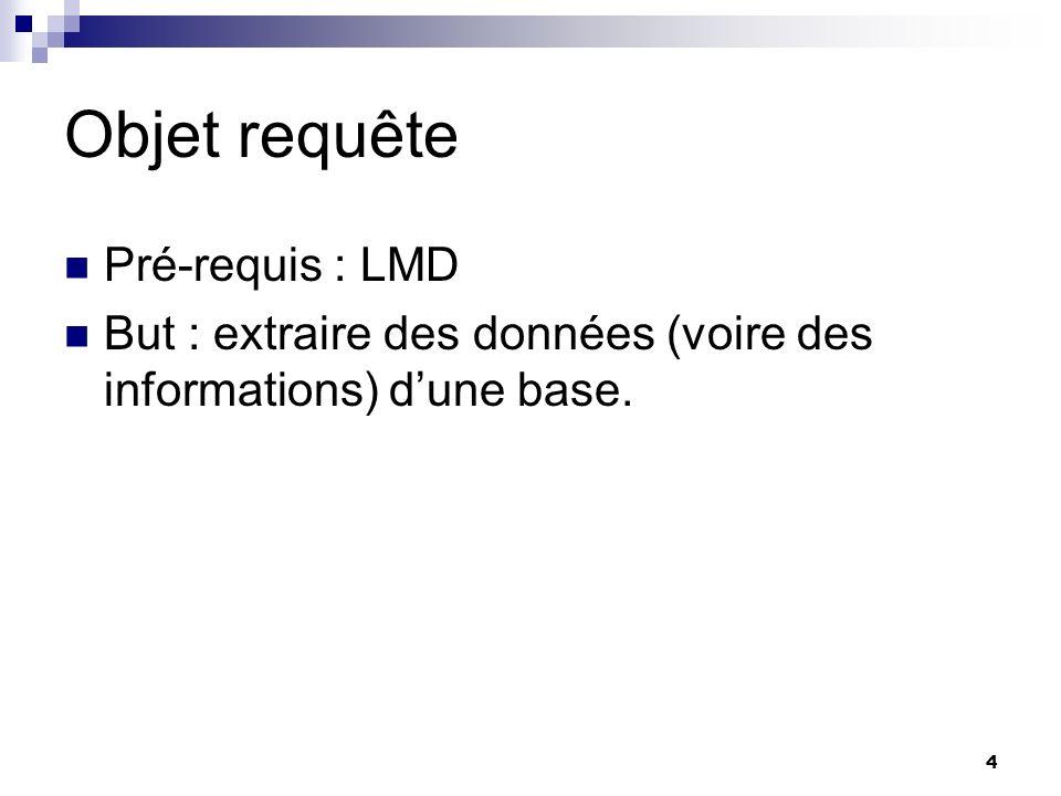 Objet requête Pré-requis : LMD