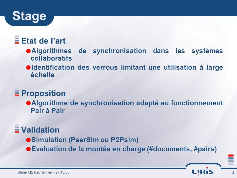 Stage Etat de l'art Proposition Validation