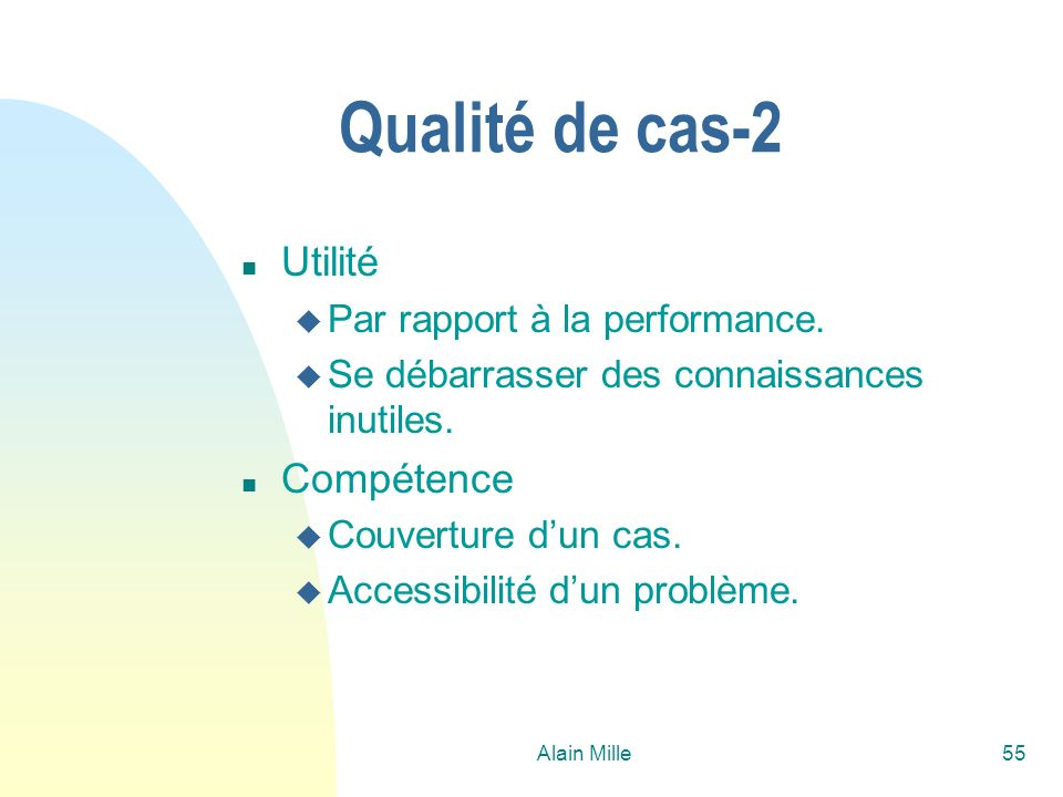 Qualité de cas-2 Utilité Compétence Par rapport à la performance.