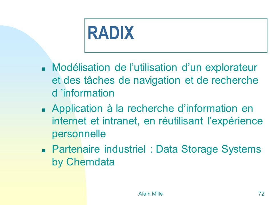 26/03/2017 RADIX. Modélisation de l'utilisation d'un explorateur et des tâches de navigation et de recherche d 'information.