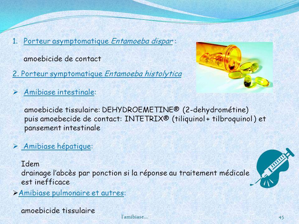 Porteur asymptomatique Entamoeba dispar : amoebicide de contact