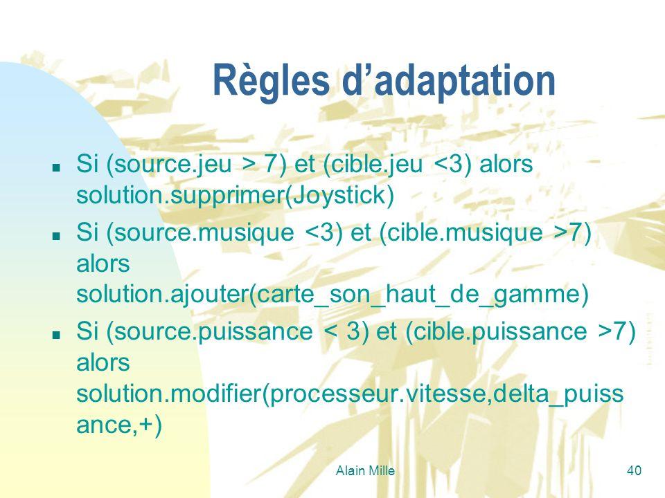 26/03/2017 Règles d'adaptation. Si (source.jeu > 7) et (cible.jeu <3) alors solution.supprimer(Joystick)