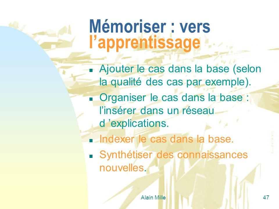Mémoriser : vers l'apprentissage