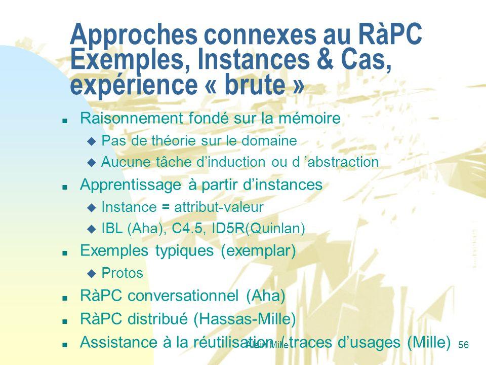 26/03/2017 Approches connexes au RàPC Exemples, Instances & Cas, expérience « brute » Raisonnement fondé sur la mémoire.